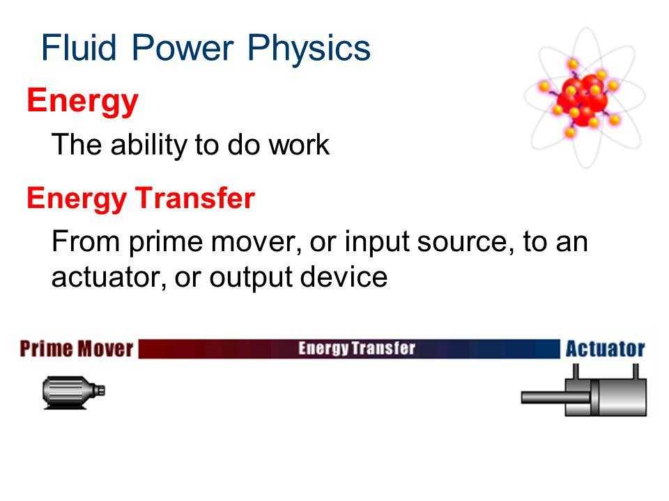 Fluid Power Physics Energy The ability to do work Energy Transfer