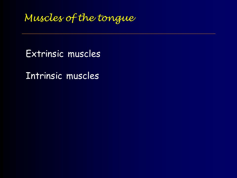 Muscles of the tongue Extrinsic muscles Intrinsic muscles