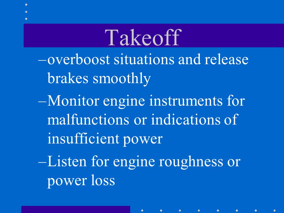 Takeoff overboost situations and release brakes smoothly