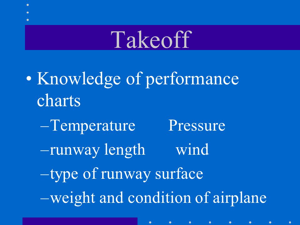 Takeoff Knowledge of performance charts Temperature Pressure