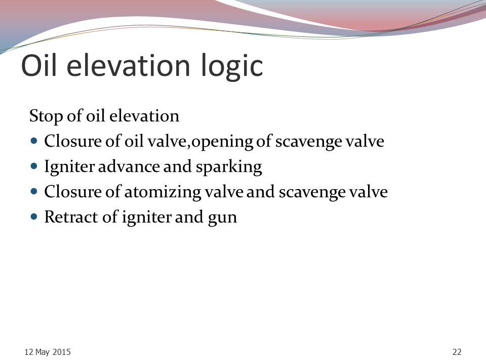 Oil elevation logic Stop of oil elevation