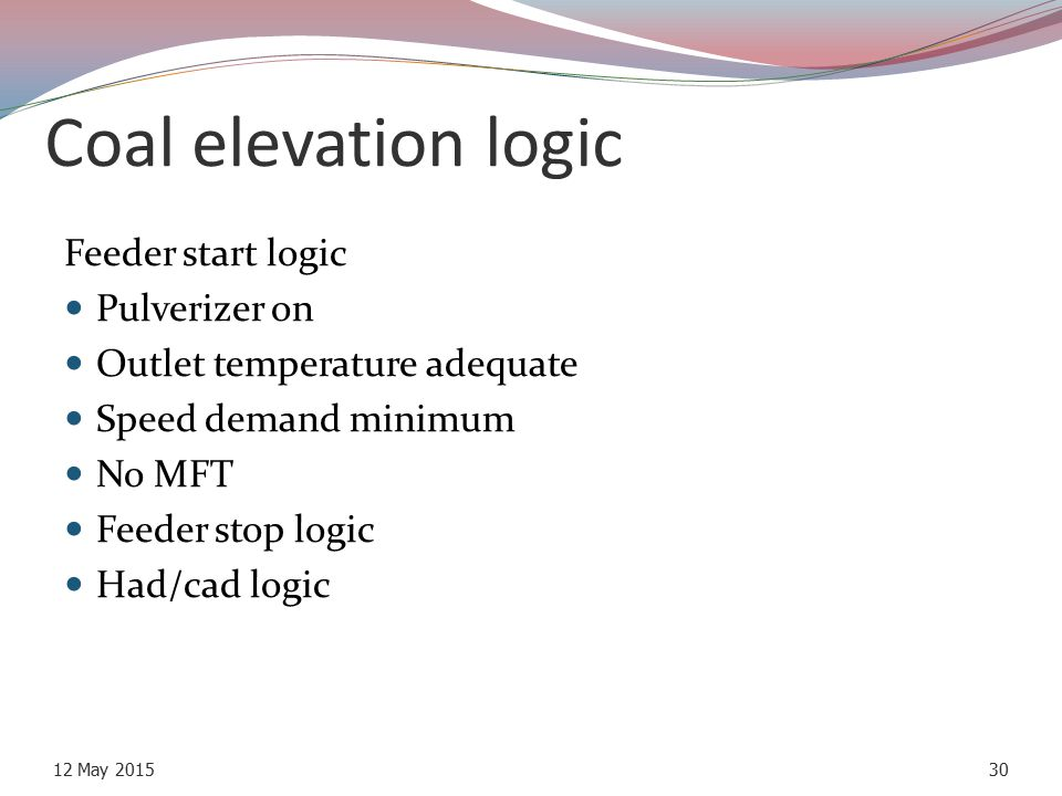 Coal elevation logic Feeder start logic Pulverizer on