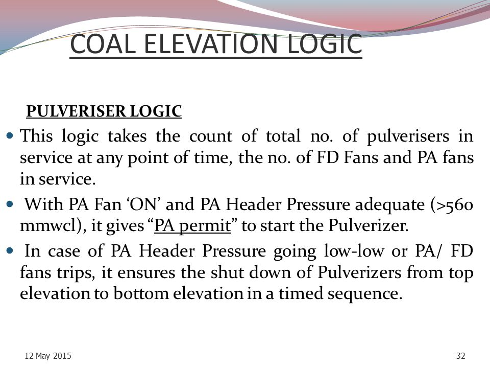 COAL ELEVATION LOGIC PULVERISER LOGIC.