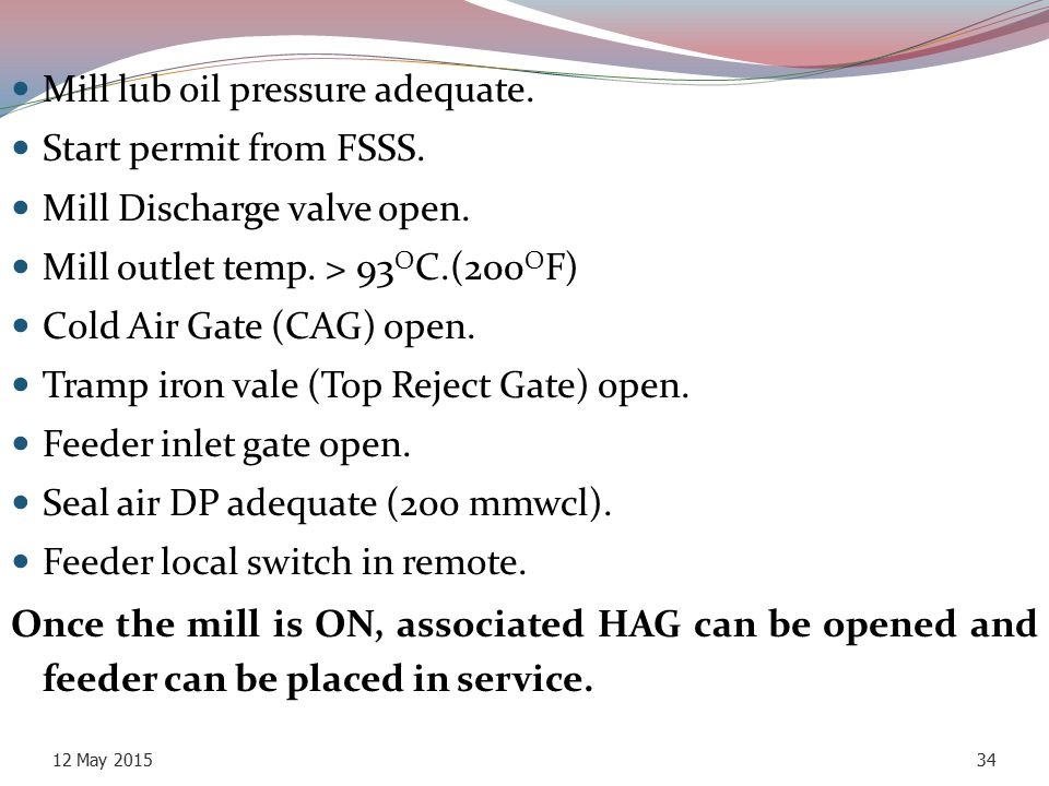Mill lub oil pressure adequate. Start permit from FSSS.