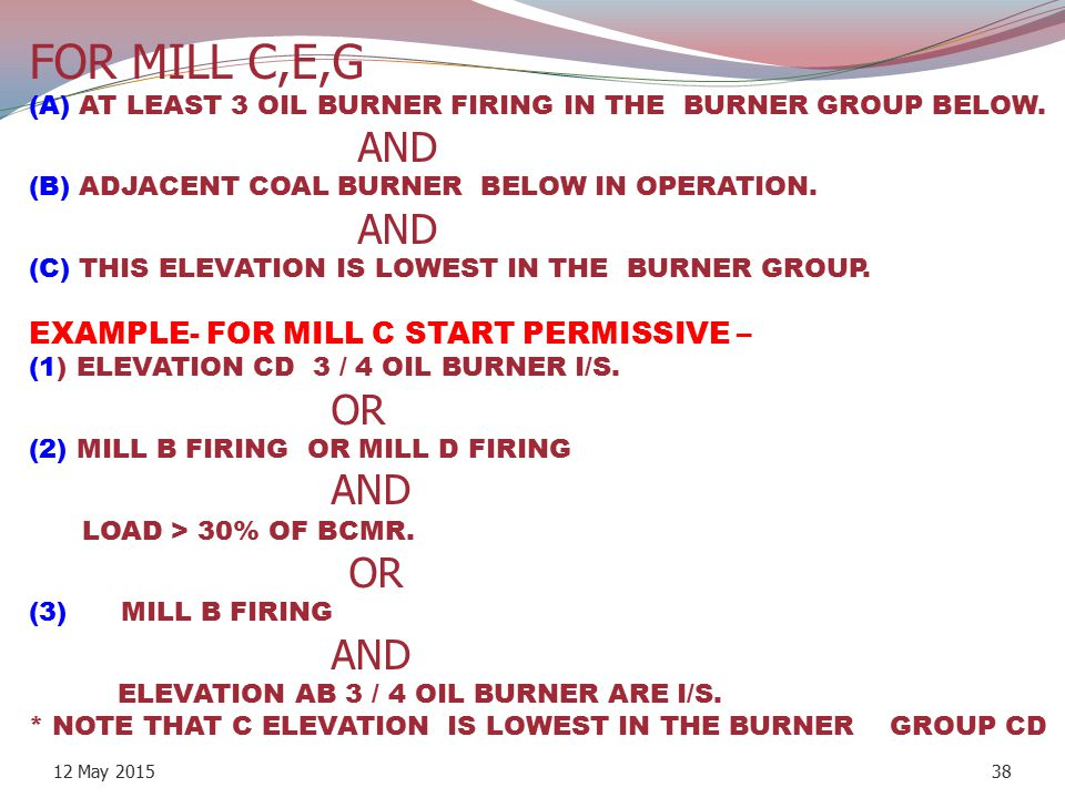 FOR MILL C,E,G (A) AT LEAST 3 OIL BURNER FIRING IN THE BURNER GROUP BELOW. AND (B) ADJACENT COAL BURNER BELOW IN OPERATION. AND (C) THIS ELEVATION IS LOWEST IN THE BURNER GROUP. EXAMPLE- FOR MILL C START PERMISSIVE – (1) ELEVATION CD 3 / 4 OIL BURNER I/S. OR (2) MILL B FIRING OR MILL D FIRING AND LOAD > 30% OF BCMR. OR (3) MILL B FIRING AND ELEVATION AB 3 / 4 OIL BURNER ARE I/S. * NOTE THAT C ELEVATION IS LOWEST IN THE BURNER GROUP CD