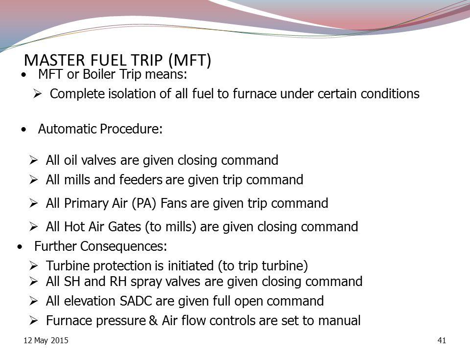 MASTER FUEL TRIP (MFT) MFT or Boiler Trip means: