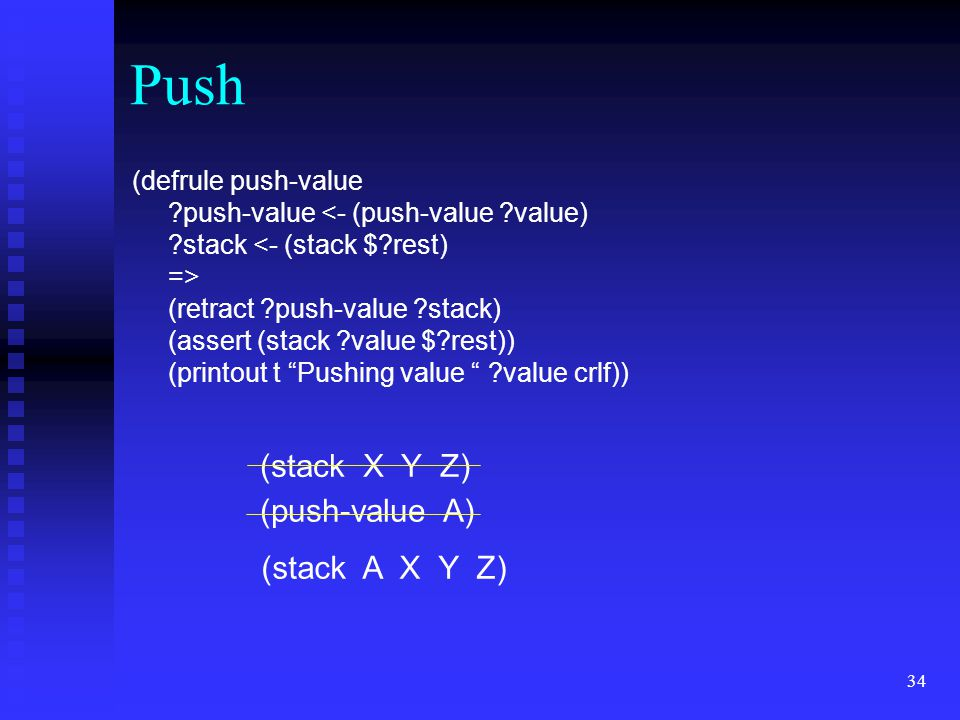 Push (stack X Y Z) (push-value A) (stack A X Y Z)