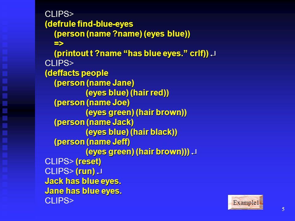 CLIPS> (defrule find-blue-eyes (person (name