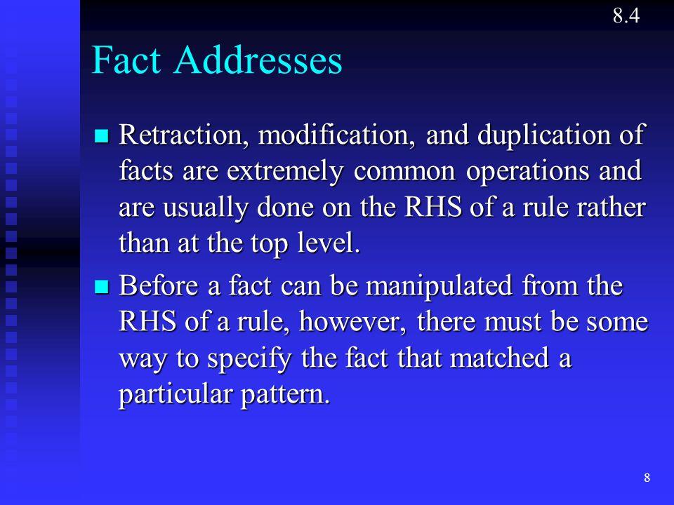 8.4 Fact Addresses.