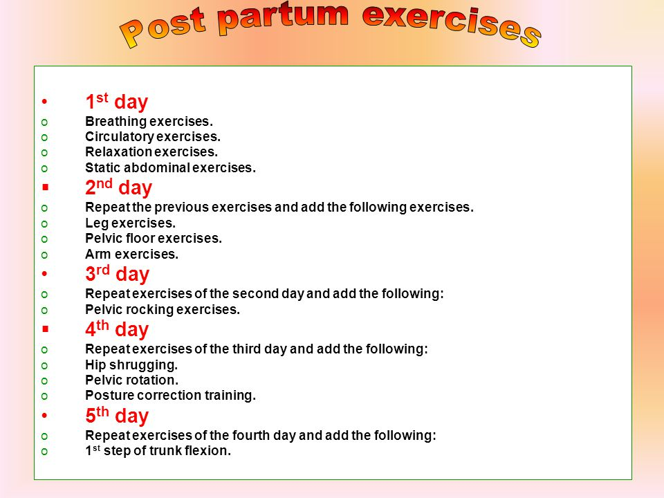 Post partum exercises 1st day 2nd day 3rd day 4th day 5th day