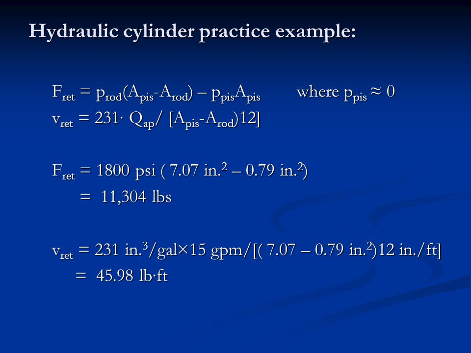 Hydraulic cylinder practice example: