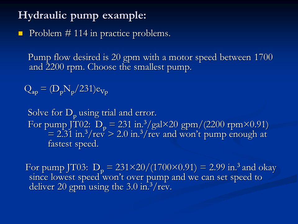 Hydraulic pump example: