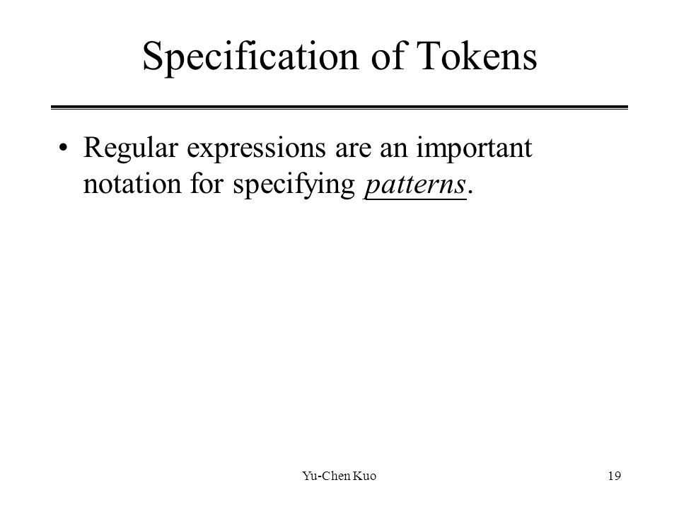 Specification of Tokens