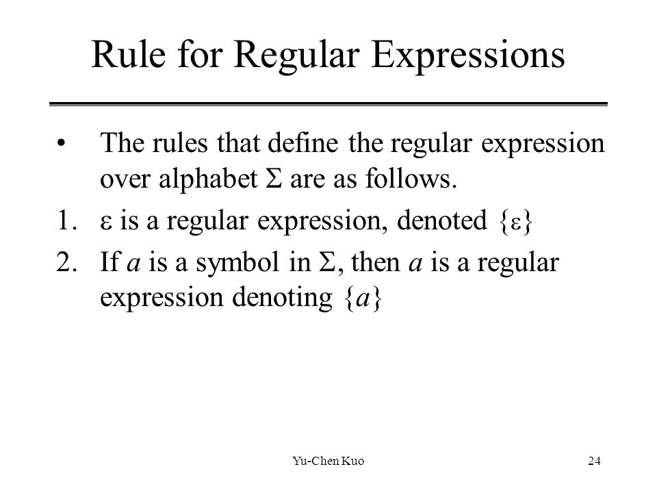 Rule for Regular Expressions