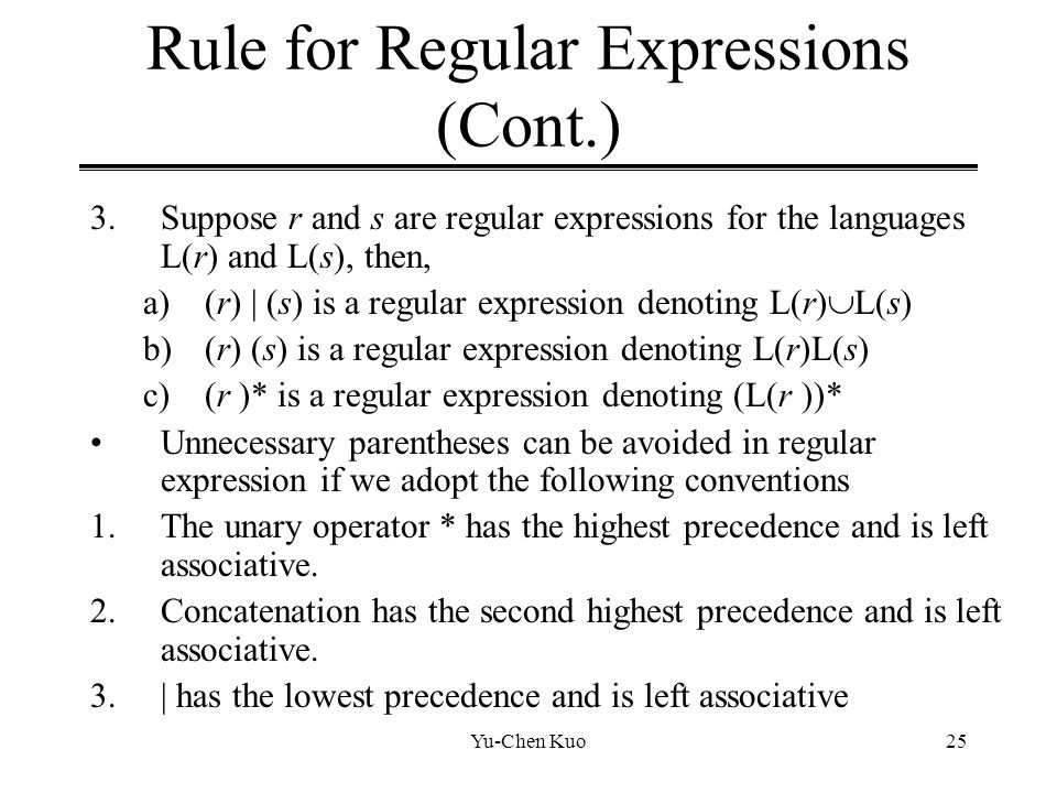 Rule for Regular Expressions (Cont.)