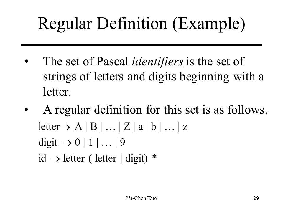 Regular Definition (Example)
