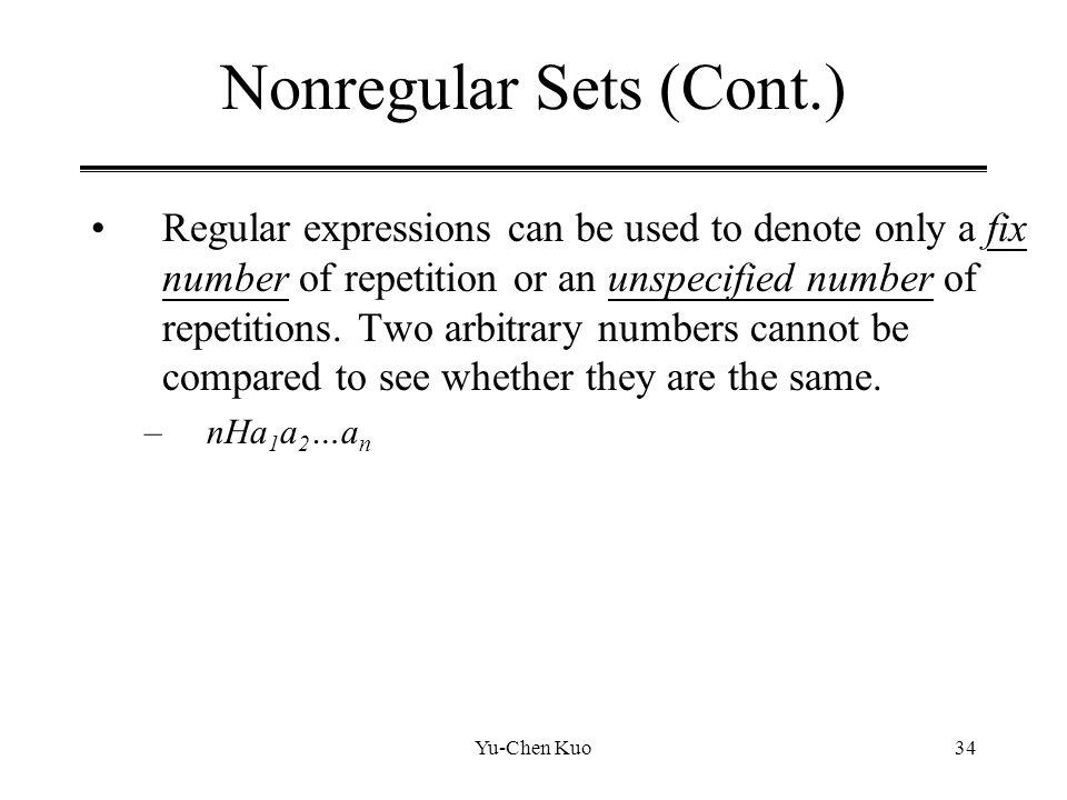 Nonregular Sets (Cont.)