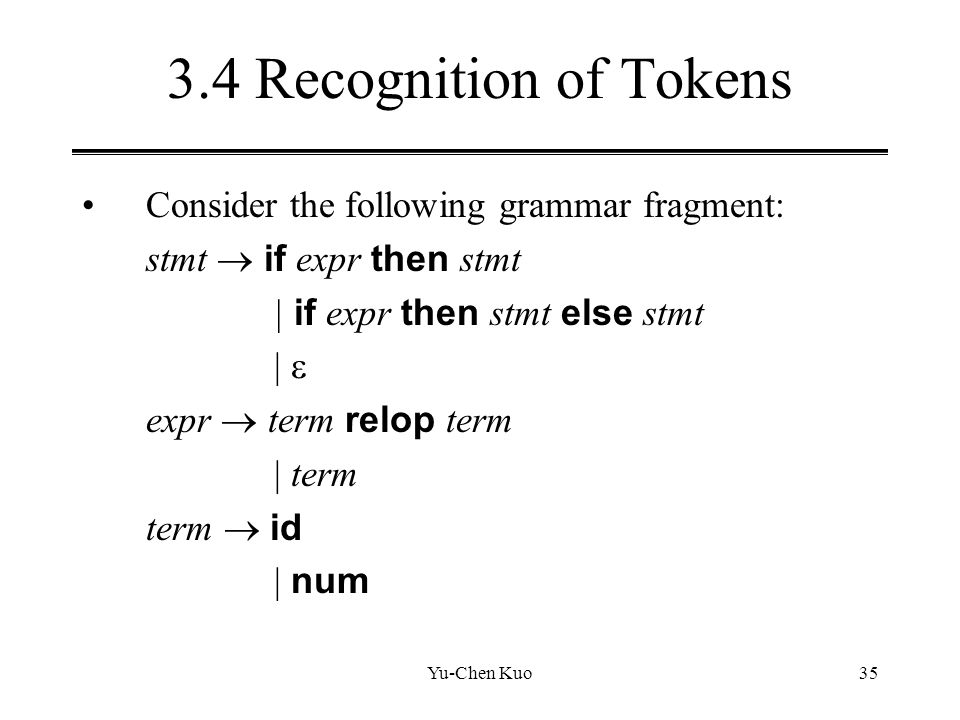 3.4 Recognition of Tokens Consider the following grammar fragment: