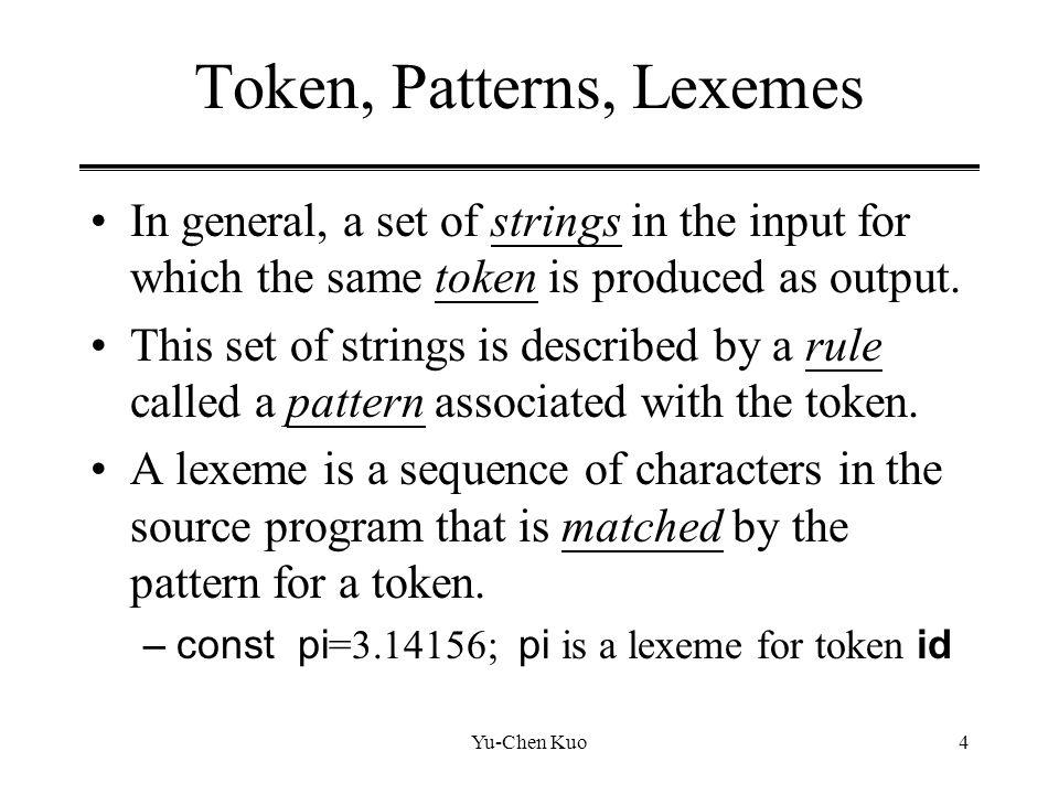Token, Patterns, Lexemes