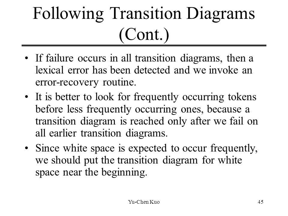 Following Transition Diagrams (Cont.)