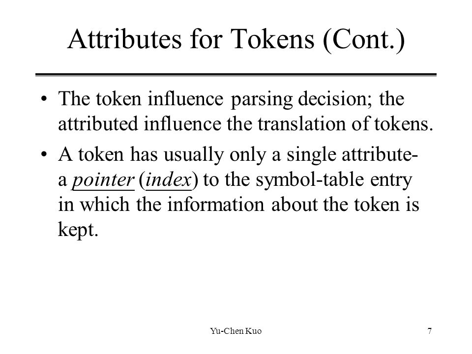 Attributes for Tokens (Cont.)