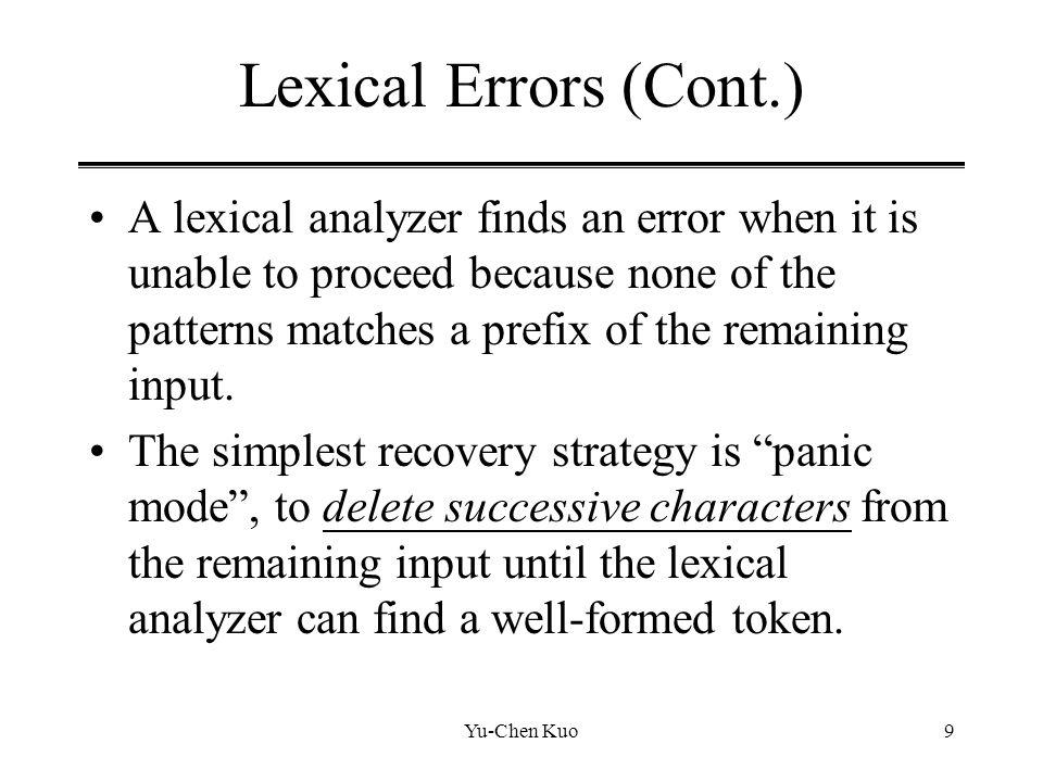 Lexical Errors (Cont.)