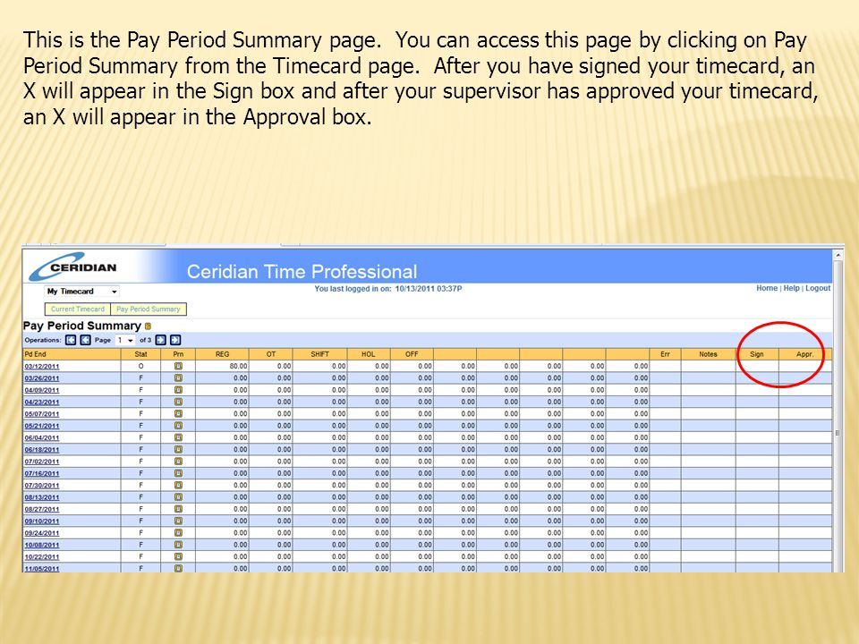 This is the Pay Period Summary page