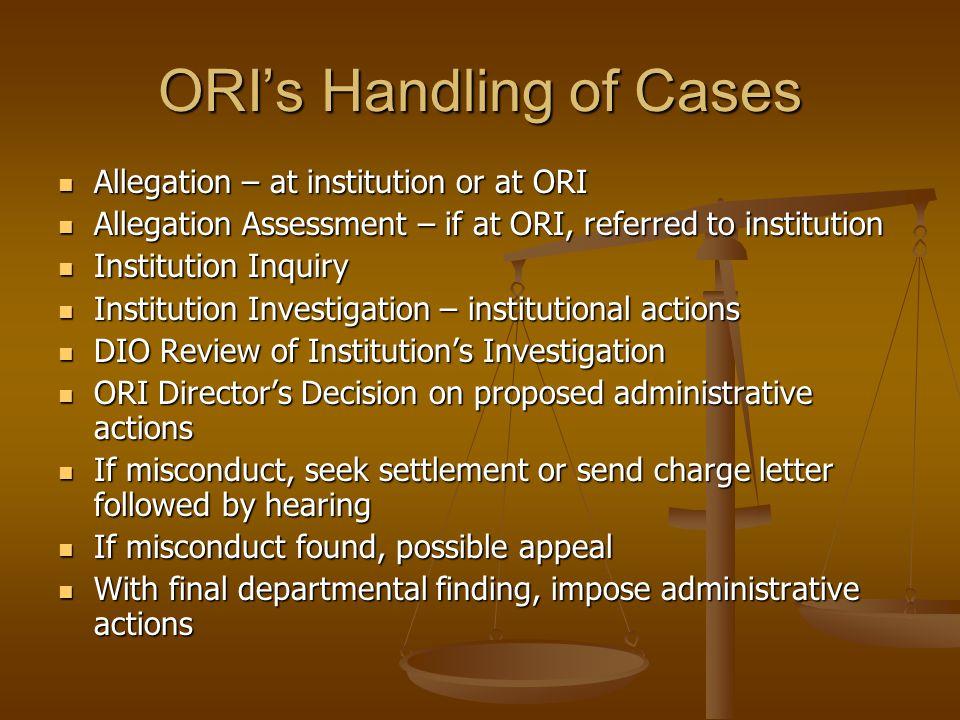 ORI's Handling of Cases