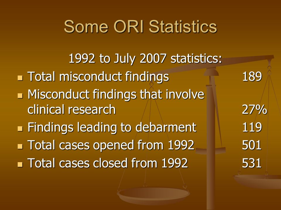 Some ORI Statistics 1992 to July 2007 statistics: