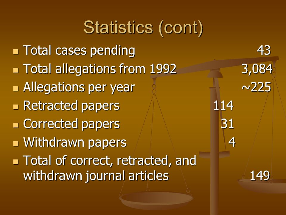 Statistics (cont) Total cases pending 43