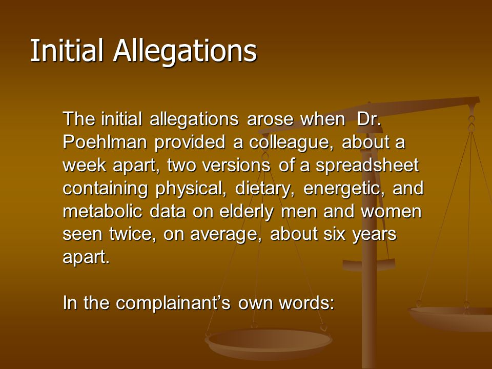 Initial Allegations