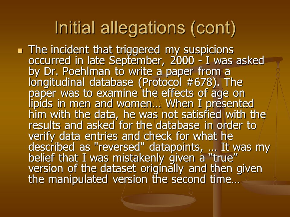 Initial allegations (cont)