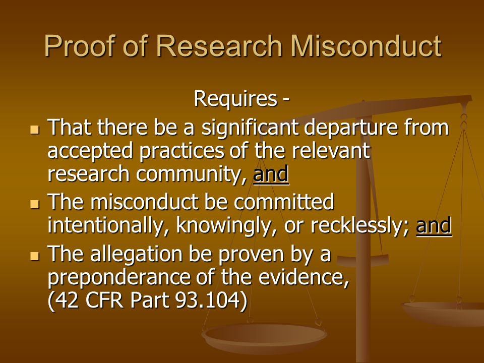 Proof of Research Misconduct