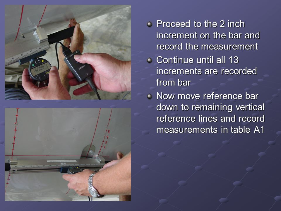 Proceed to the 2 inch increment on the bar and record the measurement