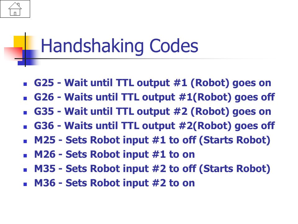 Handshaking Codes G25 - Wait until TTL output #1 (Robot) goes on