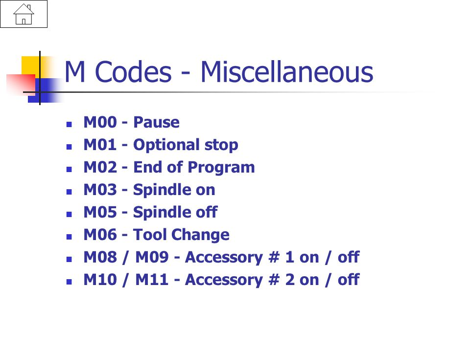 M Codes - Miscellaneous