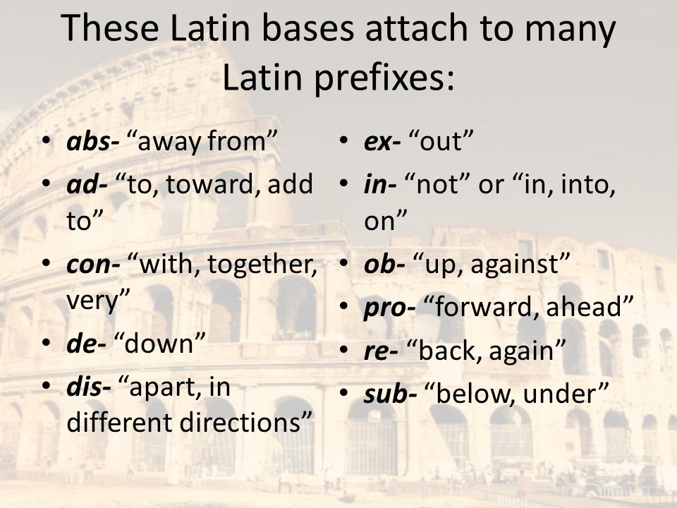 These Latin bases attach to many Latin prefixes: