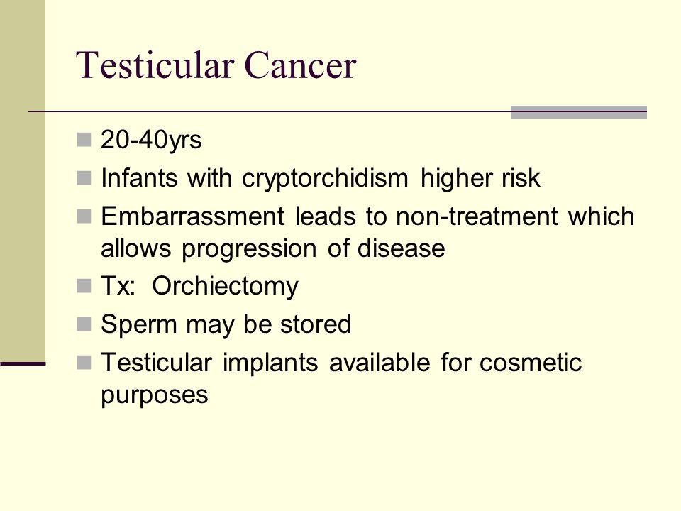 Testicular Cancer 20-40yrs Infants with cryptorchidism higher risk