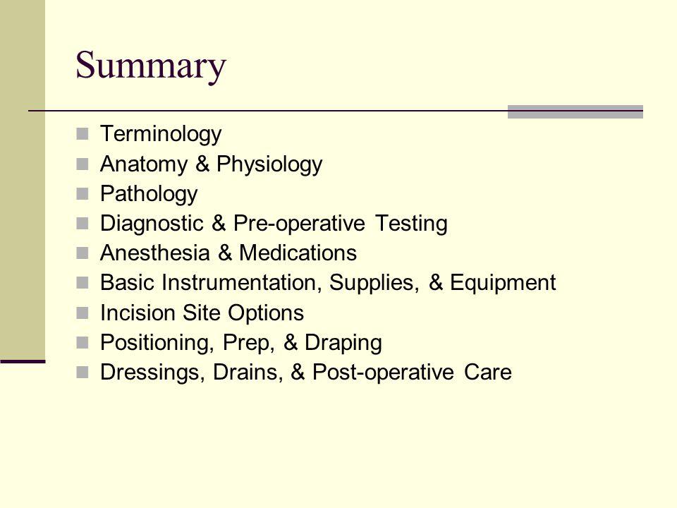 Summary Terminology Anatomy & Physiology Pathology
