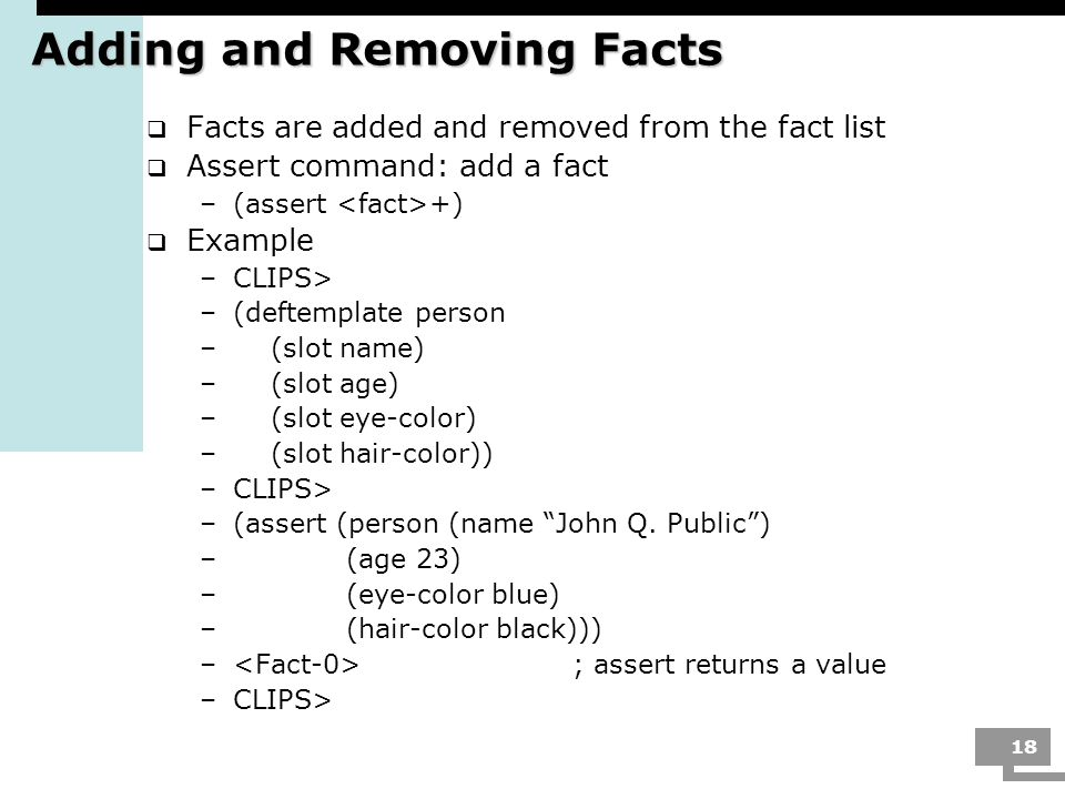 Adding and Removing Facts