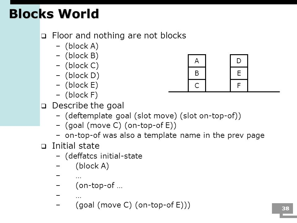 Blocks World Floor and nothing are not blocks Describe the goal