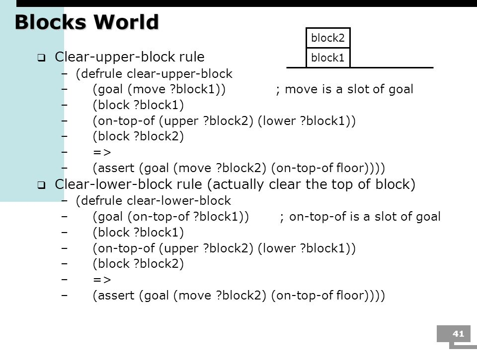 Blocks World Clear-upper-block rule