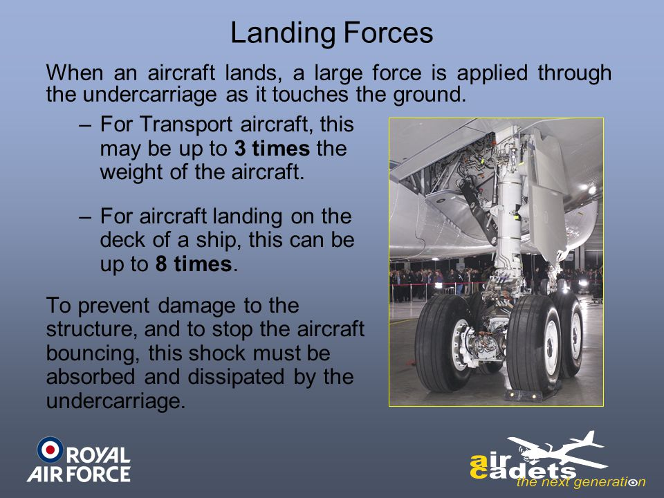 Landing Forces When an aircraft lands, a large force is applied through the undercarriage as it touches the ground.