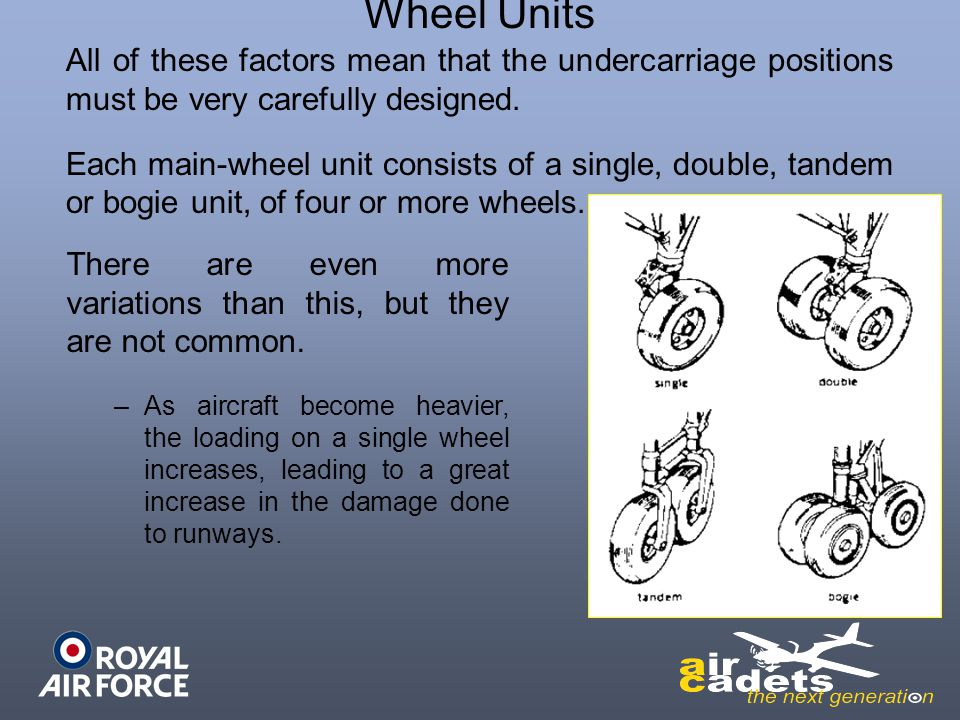Wheel Units All of these factors mean that the undercarriage positions must be very carefully designed.