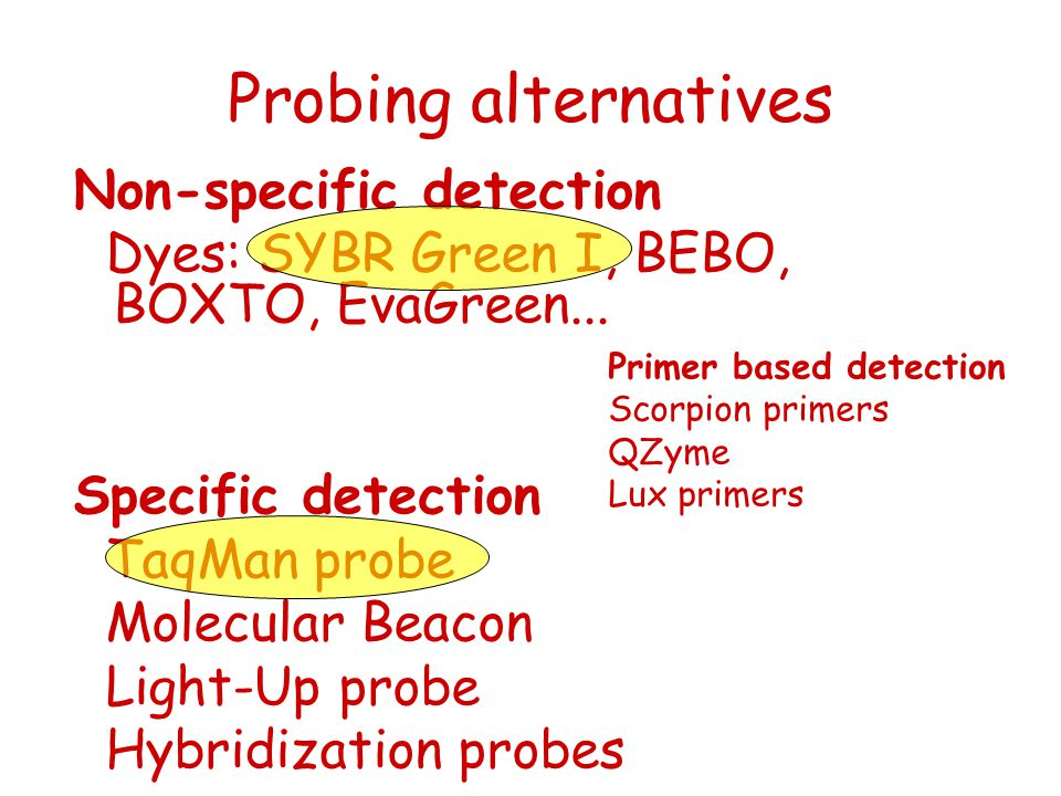 Probing alternatives Non-specific detection