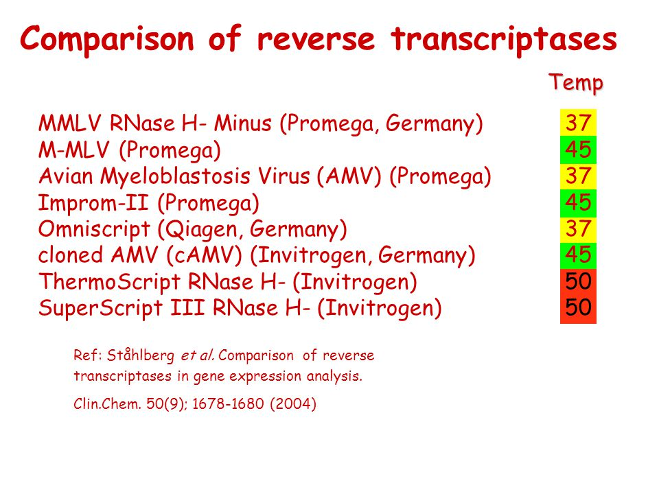 Comparison of reverse transcriptases