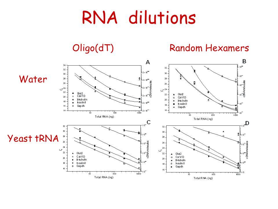 RNA dilutions Oligo(dT) Random Hexamers Water Yeast tRNA