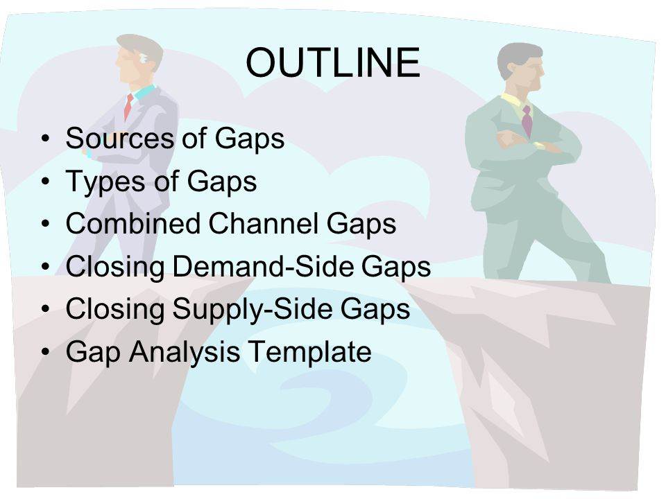OUTLINE Sources of Gaps Types of Gaps Combined Channel Gaps