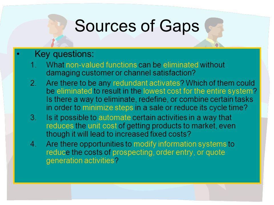 Sources of Gaps Key questions: