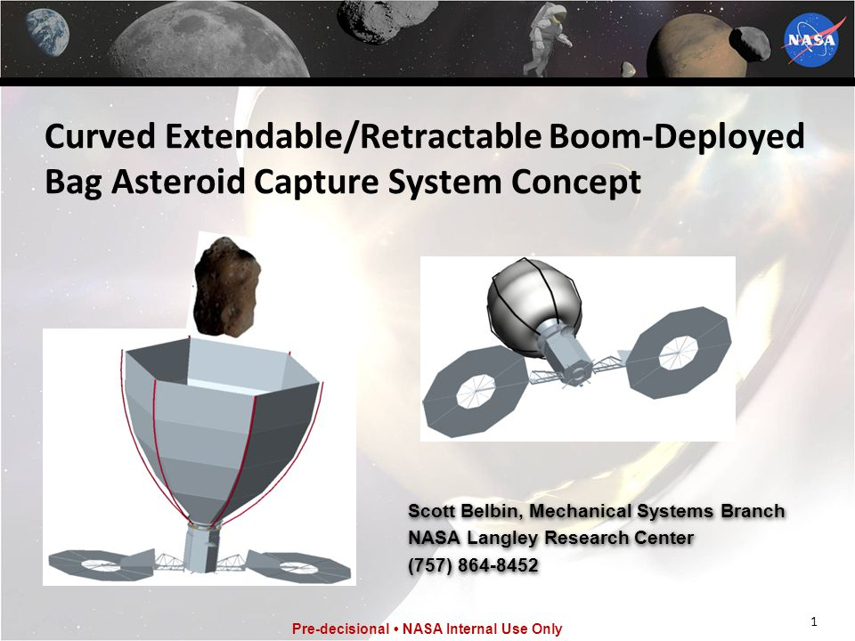 Curved Extendable/Retractable Boom-Deployed Bag Asteroid Capture System Concept